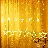 Luz de Estrellas, Yizhet 2.5m Luces de Estrellas LED 12 Estrellas 138 Leds Luz Estrellas 2 Modos Luces de Cortina de Estrella para Decoración de Navidad, Festival,Fiestas,Jardín(Blanco Cálido)