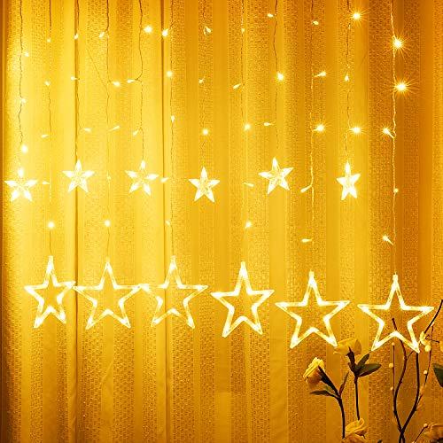 Luz de Estrellas, Yizhet 2.5m Luces de Estrellas LED 12 Estrellas 138 Leds Luz Estrellas 2 Modos Luces de Cortina de Estrella para Ramadan,Decoración de Navidad, Festival,Fiestas,Jardín(Blanco Cálido)