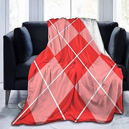 Searster$ Throw Blanket Quadratisches Muster Wattercolor Sherpa-Decke Bequeme Flanellvlies-Decke Bequeme Wärmedecken Robuste, warme Sofadecke, 102 x 127 cm