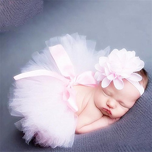 PEPEL Bébé Photographie Prop Infantile Costume Belle Tutu Dress Fleur Bandeau Set, Light Powder