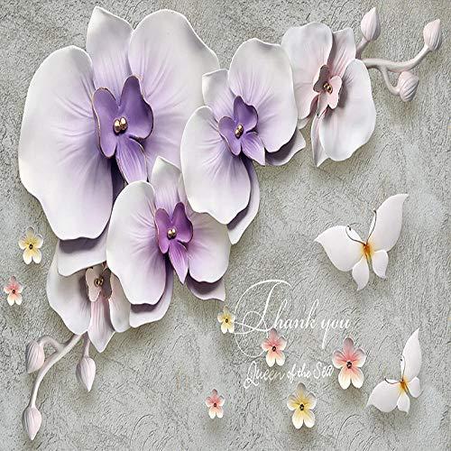 LYBSSG 3D tapete Fototapete Wandtuch 3D Stereoscopic Relief Phalaenopsis Blume Wohnzimmer Schlafzimmer Wandverkleidung-250x175cm