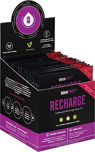 BRAINEFFECT RECHARGE - Post Workout Shake mit L-Citrullin, Magnesium & GABA - 15g Protein pro Portion - 15 Sachets - Elektrolyte & Aminosäuren Pulver - Recovery Drink - Erdbeer-Basilikum-Geschmack