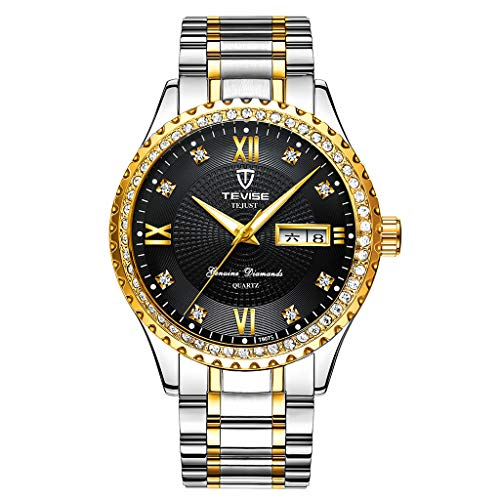 freneci Reloj de Calendario de Banda de Acero Inoxidable Mecánico Automático para Hombres de Negocios Formales - Plata Negro