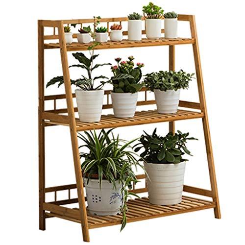 Soporte de flores Escalera de 3 niveles para plantas grandes, estante para estantes de macetas de madera, soporte de exhibición para la decoración del patio del invernadero del jardín interior al aire
