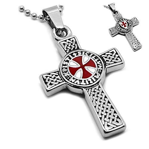 BOBIJOO JEWELRY - Collana con Pendente A Moneta Templare Croce Latina Pattee Rosso Patriot + String