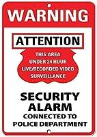 金属の装飾ティンサイン、24時間未満の警告録画エリア監視ビデオ監視2211レトロな金属のスズポスターガレージオフィスクラブバーウォールアートカフェホームペインティングの装飾に最適
