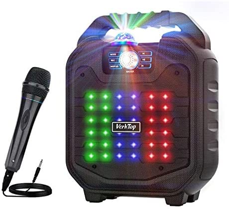 VerkTop Karaoke Machine,Portable PA System Rechargeable Wireless Bluetooth Speaker for Kids & Adult with Disco Ball &...