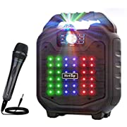VerkTop Karaoke Machine,Best Gift for Kids & Adult Portable PA System Rechargeable Wireless Bluetooth Speaker with Disco Ball & Wired Microphone for Party/Christmas/Thanksgiving