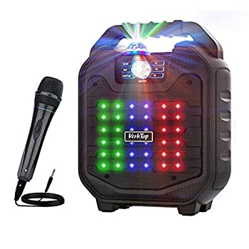 VerkTop Karaoke Machine,Portable PA System Rechargeable Wireless Bluetooth Speaker for Kids & Adult with Disco Ball & Wired Microphone for Party/Christmas /Thanksgiving