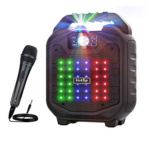 VerkTop Karaoke Machine,Best Birthday Gift Toy for Kids Portable PA System Rechargeable Wireless Bluetooth Speaker with Disco Ball&Wired Microphone for Party/Meeting/Performance