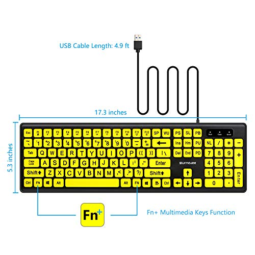 SurnQiee Large Font Print USB Wired Computer Keyboard with Yellow Keys and Black Jumbo Oversized Print Letters for Visually Impaired Low Vision Individuals