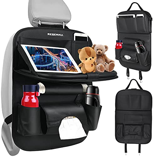 Car Back Seat Organizer PU Leather with Foldable Table Tray Car Organizer with Tissue Box/Cup/Umbrella Holder Kick Mats Car Backseat Organizer Protector Universal Use for Kids Car Travel Accessories