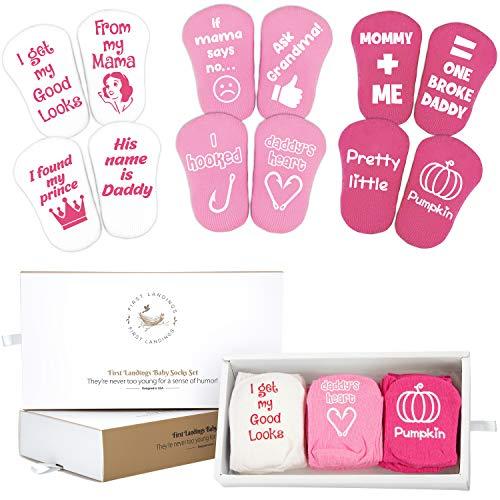 First Landings Baby Socks Gift Set   Funny Baby Shower Gift for Girls