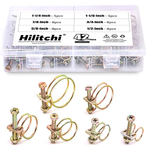 Hilitchi 42-Pcs 6-Size Adjustable Steel Wire Tube Hose Clamps Assortment Kit - Size included 1/2'', 5/8'', 3/4'', 7/8'', 1-1/8'', 1-1/4''