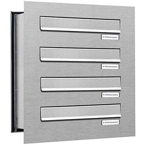 AL Briefkastensysteme 4er Briefkasten Mauerdurchwurf in V2A Edelstahl, 4 Fach DIN A4, wetterfeste Premium Briefkastenanlage Postkasten