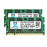 Motoeagle 4GB Kit (2x2GB) PC2 6400S DDR2 800MHz 2RX8 Dual Rank PC2-6400 DDR2-800 1.8V 200pin Sdram Sodimm Non-ECC Unbuffered SODIMM Módulo de Memoria RAM para portátiles