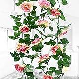 Natuce 16 Rosas(1PCS),Guirnalda de Flores Artificiales, Artificiales Plantas Colgantes, Flores de decoración para Bodas, Casas, Fiestas y Jardines (Champagne)