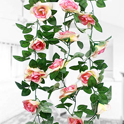 Natuce 16 Silk Roses(1Pack), 2.3M Artificial Flower, Fake Rose Vine Flowers Plants Garland, Vine with Green Leaves For Home Wedding Decor Garden Party Wall Decoration (Champagne Rose)