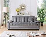 Legend Furniture Comfortable Velvet Sleeper Sofa Bed 2 Sofabed, Grey
