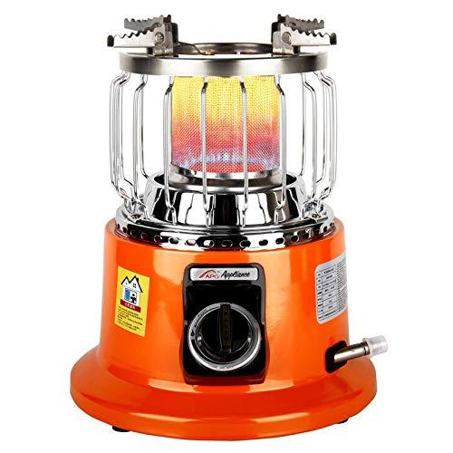 Quou - Calefactor de gas portátil para exteriores, con válvula de seguridad ajustable, 2 en 1, para cocinar al aire libre y calefacción de gas, para viajes, caravanas, pesca y hogar (27 x 33,5 cm)