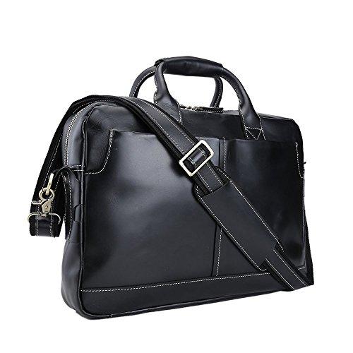 Baigio, borsa a tracolla da uomo in stile retro, in pelle, ideale per il lavoro, da 43,2cm