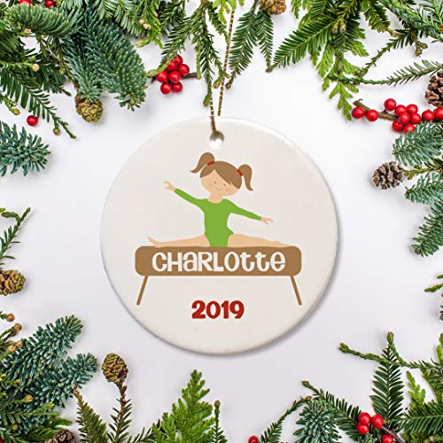 PotteLove Gymnast Christmas Ornament, Choose Your Own Hair and Leotard Colors, Personalized Gymnastic Kid, Balance Beam, Keepsake 2019,Custom with Any Name and Date