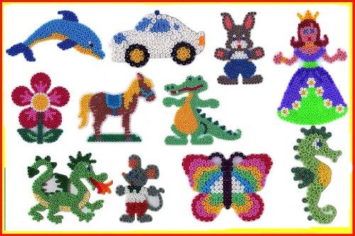 Hama Happy Price Toys Midi Stiftplatten Set 17 Midi (Schmetterling,Blume,Prinzessin,Drache..