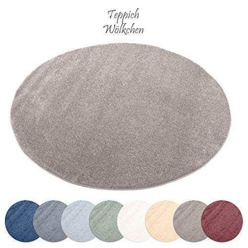 Designer-Teppich Pastell Kollektion | Flauschige Flachflor Teppiche fürs Wohnzimmer, Esszimmer, Schlafzimmer oder Kinderzimmer | Einfarbig, Schadstoffgeprüft (Grau Braun, 120 cm rund)