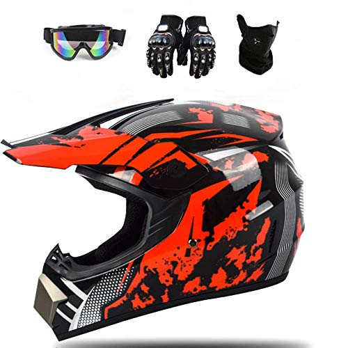 ESASAM Casco de motocross Downhill de cara completa para moto, quad infantil y cross, casco todoterreno con guantes, máscara (rojo, L)