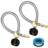 WADEO 15 inch Stainless Braided RV Propane Hose with Gauge, QCC1/ Type 1 Connection x 1/4 Inch Inverted Male Flare, 2 Pack, Include Thread Seal Tape