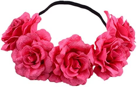 Ombre Pink Hot Pink Rose Flower Headband Hair Crown Floral Garland Hairband 0258