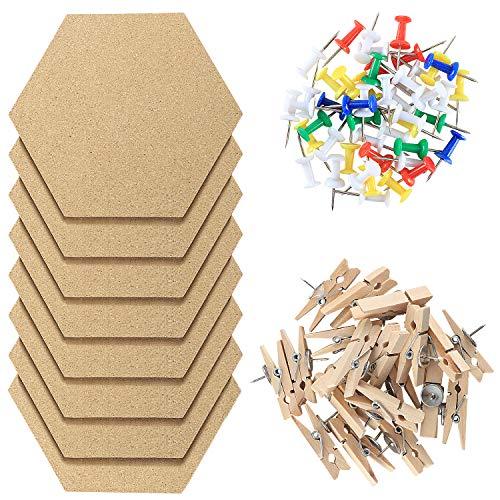 Fippy 8 Stück Pinnwand Kork, Korkplatte Selbstklebend, Hexagon Cork Board, DIY Pinnwand Korkwand mit 50 Stück Nägel und 20 Stück Push Pins für Foto hängen, Heim Office Dekor
