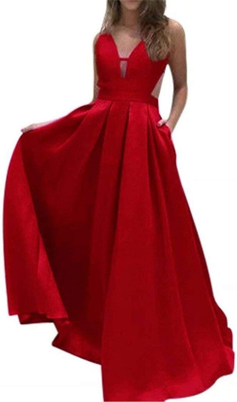 EEFZL Women's V Neck Backless Satin Evening Dresses Long 2018 Prom Dresses