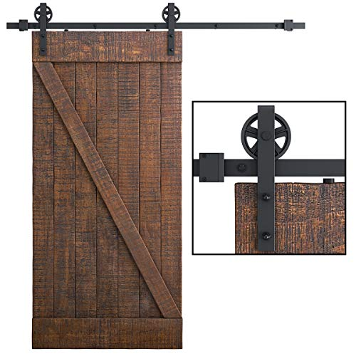 SMARTSTANDARD 6.6 FT Heavy Duty Sliding Barn Door Hardware Kit, Single Rail, Black, Super Smoothly and Quietly, Simple and Easy to Install, Fit 36'-40' Wide DoorPanel (Industrial Bigwheel Hangers)