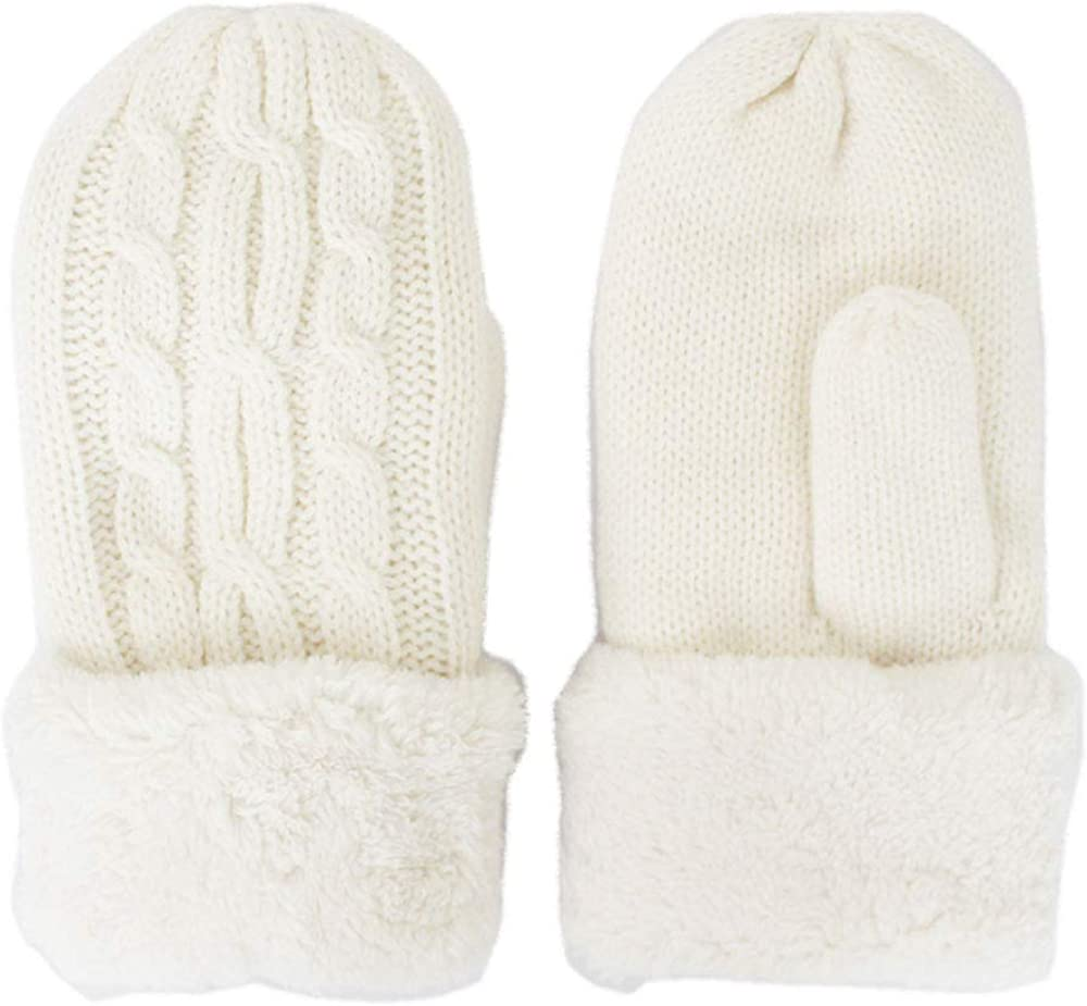 GlovesDEPO Women Knitted Mittens Gloves Warm Double-layer Inner Boa For 5 Finger cable design