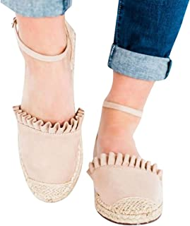 Woven Flats Shoes Women On Sale Clearance,melupa Fashion Retro Flat Casual Shoes Straw Linen Buckle Ruffle Pumps Ladies Shoes