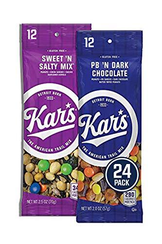 Kar's Nuts Variety Pack Trail Mix Snacks - Sweet 'N Salty Mix, Peanut Butter 'N Dark Chocolate Individual Packs (Pack of 24)