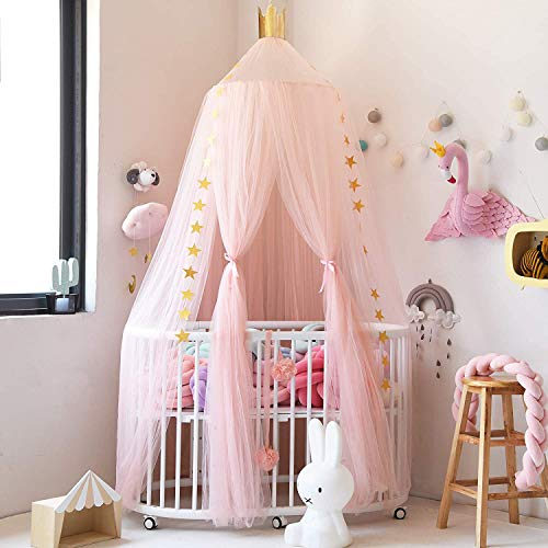 AOYAR Toldo redondo de malla de gasa para cama de niños, mosquitero decorativo, tienda de campaña para bebé, color rosa