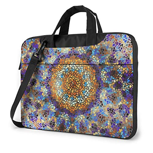 Psychedelic and Trippy Round Mosaic Art Pattern Laptop Bag Protective Case Computer Messenger Briefcase Women Men 14'