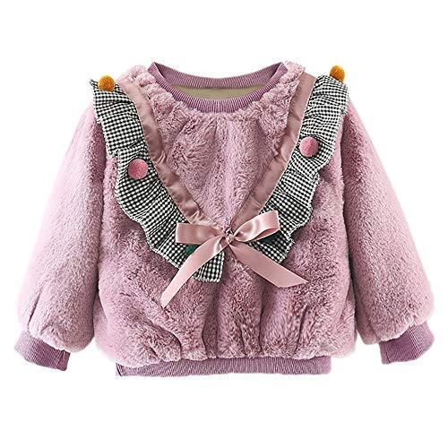 Poilue Longues Manteau Sweat-Shirt Binggong, Haut Pull-Over Bébé Fille Top Spot Plus Velours Sweatshirt Pulls Casual Mignon Cartoon Tracteur Imprimée Sweatshirt 6-24Mois