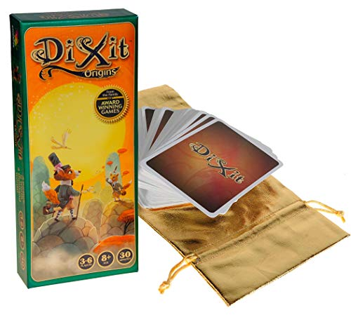 Asmodee Dixit Origins _ Expansion add-on Cards for Dixit Game _ Bonus Gold Metallic Cloth Drawstring Storage Pouch