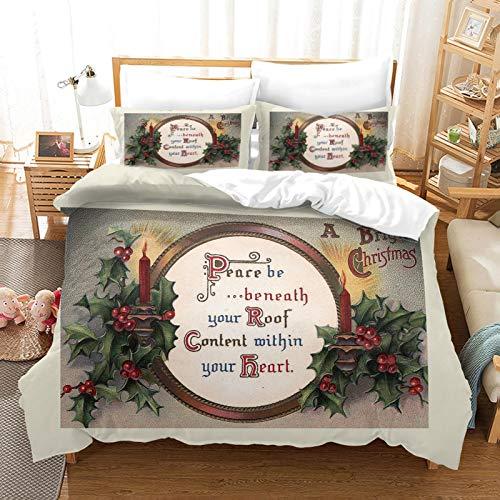 HKDGHTHJ Fundas nordicas Cama Reloj de Navidad 135 x 200 CM Juego de Funda nórdica Juego de Ropa de Cama Doble tamaño Queen King Size Juego de sábanas de edredón Suave Juego de sábanas Ropa de Cama