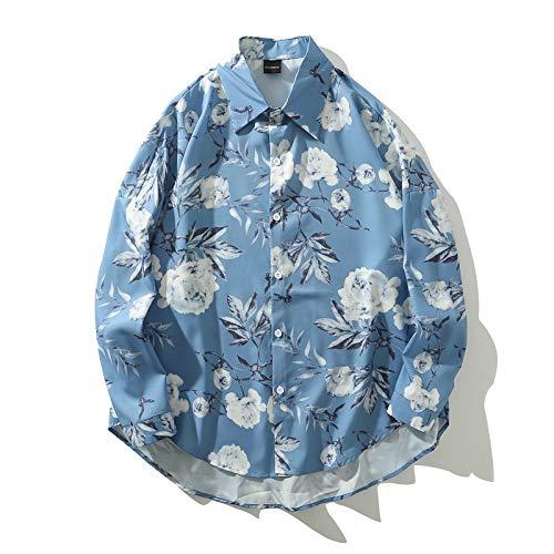 Camisa Formal Floral para Hombre de Manga Larga, clásica, Retro, con Estampado de Flores, Dobladillo Irregular, Informal y cómoda, Camisa con Botones de un Solo Pecho XXL