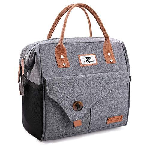 Lekesky Kühltasche Lunchtasche Damen Thermotasche Kühltasche für Arbeit, Ausflügen, Einkaufen, Picknick, 11 L Grau