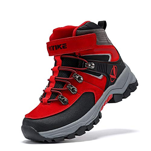 Kids Hiking Boots Boys Girls Outdoor Walking Climbing Sneaker Comfortable Non-Slip Snow Shoes Hiker Boot Antiskid Steel Buckle Sole Black Red 4.5 Big Kid