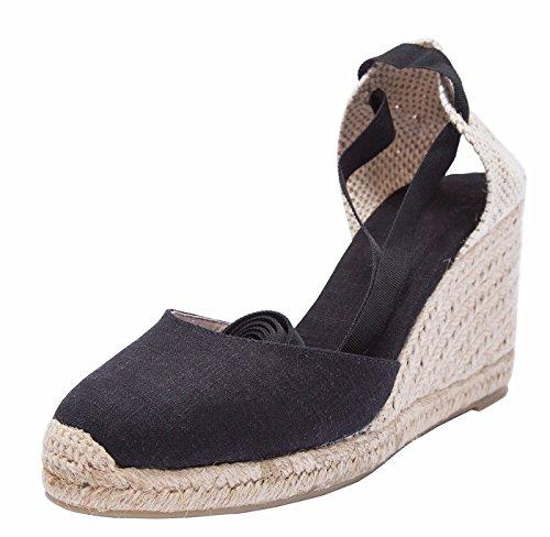 SimpleC Heel Eppers Classic Heel Climbing da Donna con Tallone, Intersuola Naturale alla cavigliaNero37