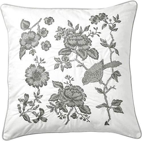Cojín con estampado floral bordado - relleno de plumas de pato, blanco - gris 50 x 50 cm