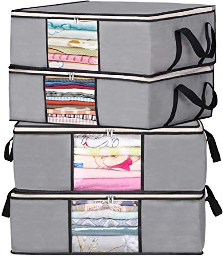 MISSLO Clothes Blankets Storage Bags Organizer Under Bed Containers with Reinforced Handle, 4 Pack, 43L, Grey