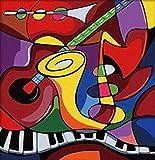 Pintura por números para adultos Instrumento musical Pintura al óleo de bricolaje lienzo paint Kit niños y principiantes decoración del hogar arte regalo 40x50 cm(Sin marco)