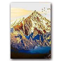 ゴールデンアブストラクトスノーマウンテンランドスケープマップキャンバスペインティングアートプリントポスターピクチャーウォール 北欧装飾写真家の装飾60x80cmフレームレスOT409-2